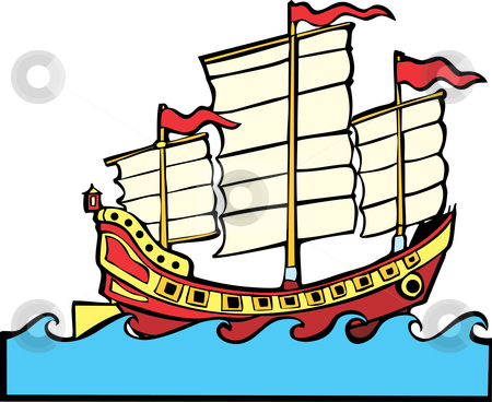 Red and yellow Chinese Junk stock vector clipart, Red and yellow Chinese Junk at sea with small waves. by Jeffrey Thompson