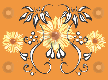 Black Eyed Susans Floral  stock vector clipart, Floral image of two twining vines (derived from my own hand drawn images) with three black eyed susans in the background. Separate vector elements can be moved. by Jeffrey Thompson