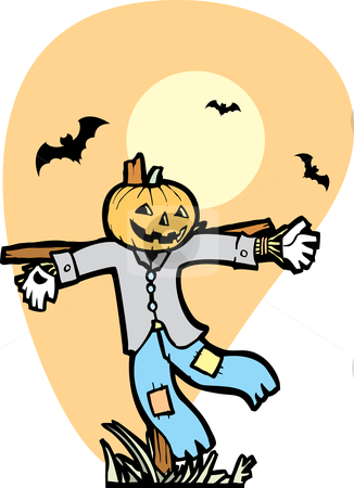 Scarecrow With Bats stock vector clipart, Halloween Scarecrow in Autumnal Field with bats. by Jeffrey Thompson