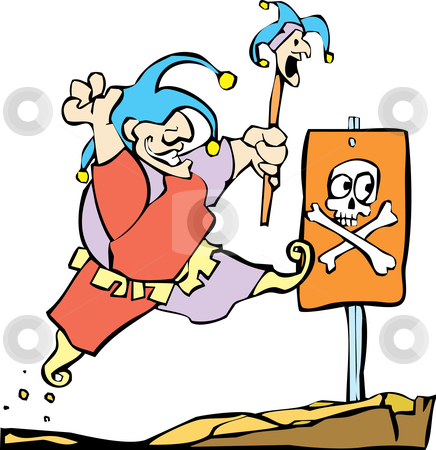 Fool Rushing In stock vector clipart, A picture of a Fool Rushing In. by Jeffrey Thompson
