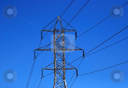 Power Transmission Lines stock photo, Electrical power cables and a tower by Tim Elliott