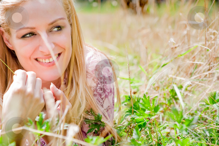 Happy lifestyle girl stock photo, A blond woman in the park with sunny weather by Frenk and Danielle Kaufmann