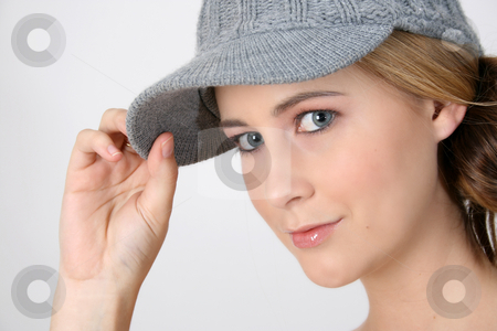 Beautiful Girl stock photo, Beautiful young female model wearing a grey hat by Vanessa Van Rensburg