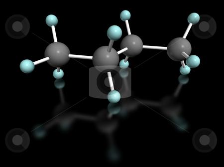 Butano nero stock photo, 3D molecular model of butane on black background by ANTONIO SCARPI