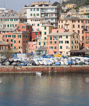 Houses and boats stock photo, House and boats in Nervi, a small town near Genova, Italy by ANTONIO SCARPI