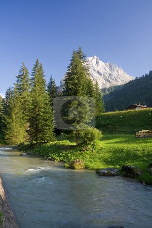 Torrente Avisio stock photo, Summer view of Avisio river in Val di Fassa, italian dolomites by ANTONIO SCARPI