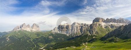 Dolomites panorama stock photo, Summer view of italian Dolomites in val di fassa near pordoi pass with Sassolungo - Langkofel mount and Sella group. Photo taken with polarizer filter by ANTONIO SCARPI