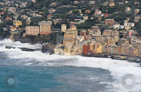 Storm in Camogli 4 stock photo, Sea storm in camogli, famous small town near Genova, italy by ANTONIO SCARPI