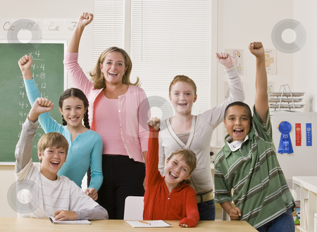 Teacher and students cheering stock photo, Teacher and students cheering by Jonathan Ross
