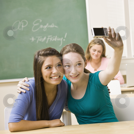 Students taking self-portrait in classroom stock photo, Students taking self-portrait in classroom by Jonathan Ross