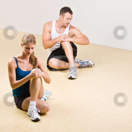 People stretching in health club stock photo, People stretching in health club by Jonathan Ross