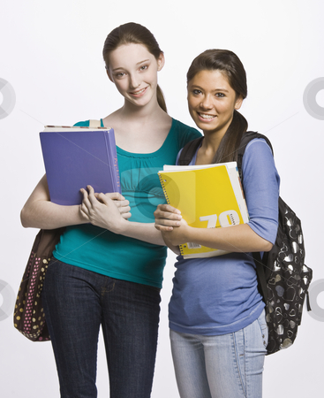 Students carrying book bag, backpack and notebooks stock photo, Students carrying book bag, backpack and notebooks by Jonathan Ross