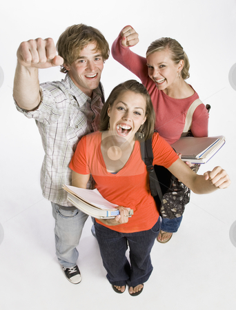 Student friends cheering stock photo, Student friends cheering by Jonathan Ross