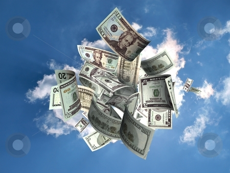 Money rain stock photo, Money falling from the sky to represent, financial success and business opportunity. by vrcraft