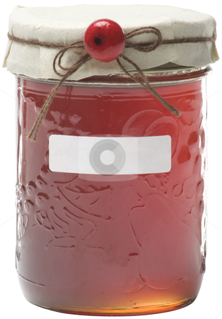 Apple jelly jar stock photo, Apple jelly jay with white label and berry decoration, path included by Yann Poirier