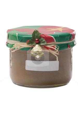 Caramel pot stock photo, Caramel pot with christmas decoration and label by Yann Poirier
