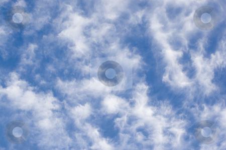 Filament cloud stock photo, Fluffy strecth cloud on blue background by Yann Poirier