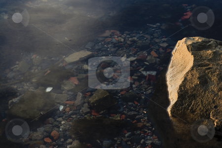 Underwater rock stock photo, Rock shore underwater by Yann Poirier