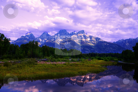 Grand Teton National Park stock photo, Grand Teton National Park in the Summer with blue skys and reflections by Mark Smith