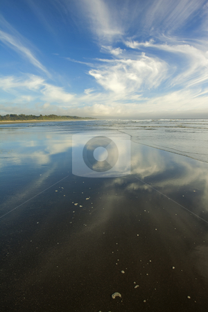 Moonstone Beach Reflections stock photo, Cirrus clouds reflect on the wet sand at Moonstone Beach along the Northern California Coast by Mike Dawson