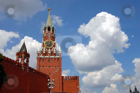 The Kremlin Spasskaya tower on Red Square in Moscow stock photo, The Kremlin Spasskaya tower on Red Square in Moscow, Russia by Julija Sapic