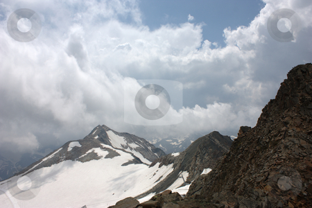 Stubai glacier in Tyrol stock photo, View from the platform,