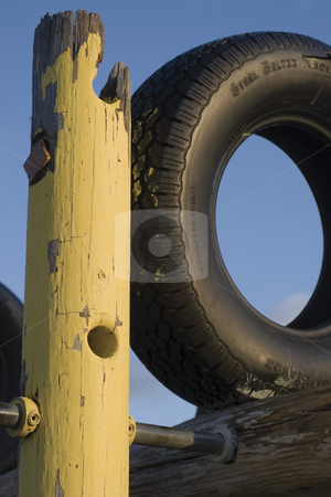 Tire jungle gym stock photo, Close up of jungle gym park by Yann Poirier