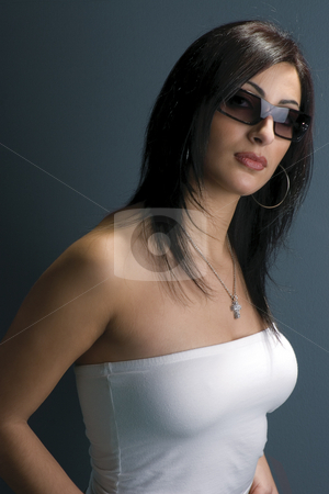 Fashion model stock photo, Twenty something fashion model with sunglasses by Yann Poirier