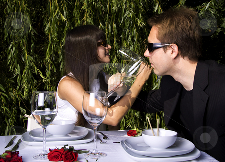 Lunch in the garden stock photo, Couple having a romantic lunch in the garden enjoying wine by Daniel Kafer