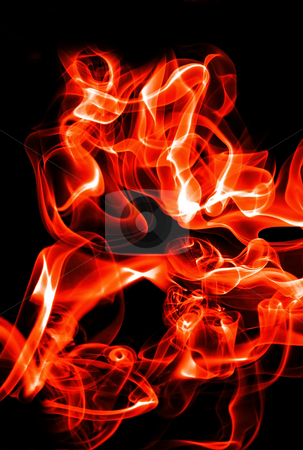 Abstract fire waves stock photo, Abstract red fire waves and smoke on black background by Dmitry Rostovtsev