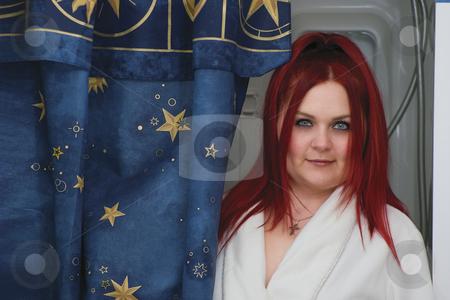 Red hair model - bathroom stock photo, Red hair woman model in white bathrobe standing in bathroom by Yann Poirier