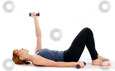 Fitness Woman Exercise stock photo, Young, attractive fitness woman exercising with dumbbells, isolated on white background. by Rognar