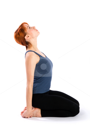Slim Young Woman doing Fitness Exercise stock photo, Young slim woman doing stretching fitness exercise, isolated on white background. by Rognar
