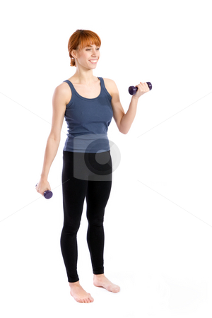 Aerobic Exercise stock photo, Young attractive woman doing aerobic exercise with dumbbells, isolated on white. by Rognar