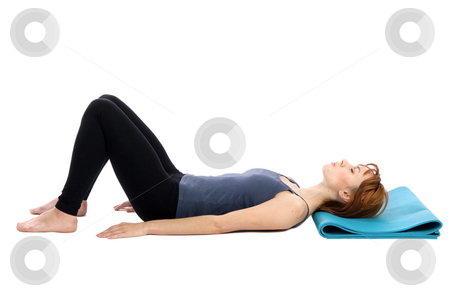 Woman Resting stock photo, Young woman in relaxed pose, isolated on white. by Rognar