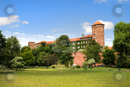 The Wawel Royal Castle in Cracow stock photo, The Wawel Royal Castle in Cracow in Poland built in 14th at the behest of Casimir III the Great, rebuilt by Jogaila and Jadwiga of Poland. by Rognar