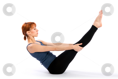 Slim Young Woman doing Yoga Exercise stock photo, Young fit woman doing yoga exercise called Navasana, isolated on white background. by Rognar