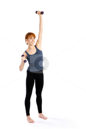 Fitness Exercise stock photo, Young, relaxed and smiling woman exercising with dumbbells, isolated on white. by Rognar