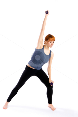 Woman doing Aerobic Exercise stock photo, Young, attractive fitness woman doing aerobic exercise with dumbbells, isolated on white background. by Rognar
