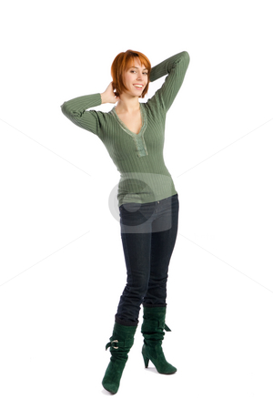 Happy Young Woman stock photo, Happy beautiful young woman with hands behind head, isolated on white background. by Rognar