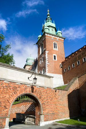 Entrance Gate to the Wawel Royal Castle stock photo, Entrance Gate to the Wawel Royal Castle in Cracow, Poland. by Rognar