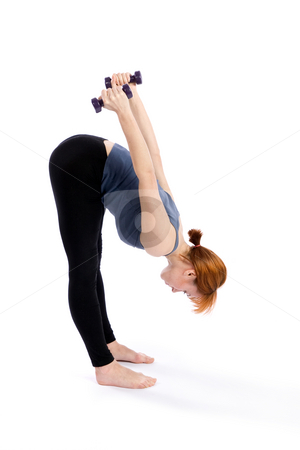 Fitness Woman Exercise stock photo, Fitness woman exercising with dumbbells, isolated on white. by Rognar