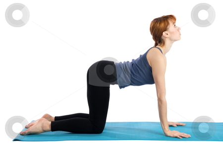 Woman Practices Yoga stock photo, Young woman doing yoga exercise (Bidalasana), isolated on white background. by Rognar