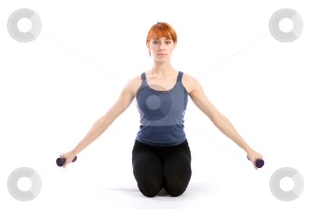 Fitness Woman with Dumbbells stock photo, Fitness woman exercising with dumbbells, isolated on white. by Rognar