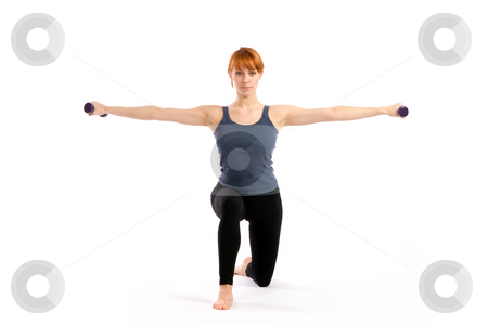 Fitness Model stock photo, Ftness woman exercising with dumbbells, isolated on white. by Rognar
