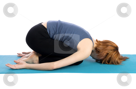 Woman Exercise stock photo, Young woman doing yoga exercise, isolated on white background. by Rognar