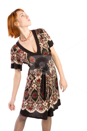 Fashion Woman Looking at Something stock photo, Young attractive fasion model looking at something, isolated on white background. by Rognar