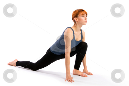 Woman Practising Yoga Exercise stock photo, Young fit woman doing yoga exercise called Surya Namaskar or Sun Salutation, isolated on white background. by Rognar