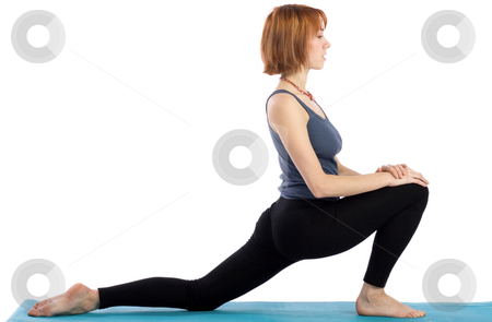 Woman Stretching stock photo, Young woman stretching, isolated on white background. by Rognar