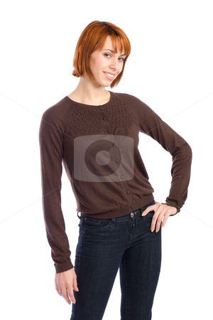Young Pretty Woman stock photo, Happy beautiful young woman with hand on hip, isolated on white background . by Rognar